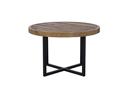 Casa Bella Furniture Brooklyn Industrial Round Dining Table Reclaimed Solid Wooden 120cm