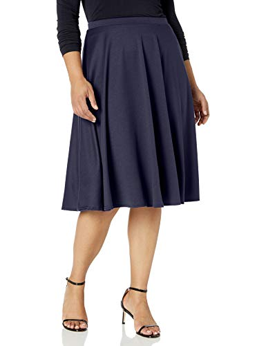 Star Vixen Women's Plus-Size Midi Full Skater Skirt, Navy, 2X