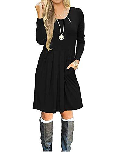 AUSELILY Damska sukienka z długim rękawem, plisowana, luźna, z kieszeniami do kolan, czarny, XXL