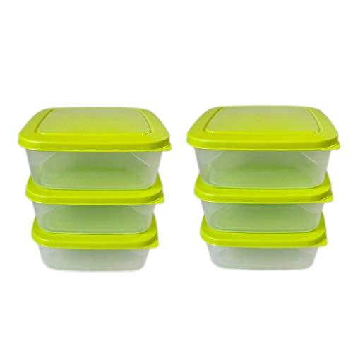 ml24 6 recipientes para congelar, 1,0 L, transparente/verde, 16,5 x 16,5 x 6 cm, cuadrados.