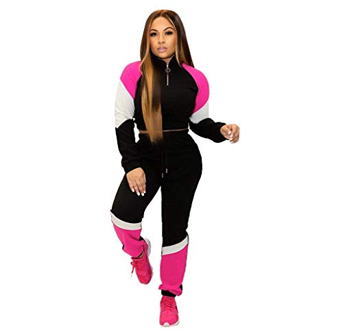 Tuta da Ginnastica Manica Lunga Felpa con Cappuccio Jogging Sportivo Due Pezzi Felpa Pantaloni Casual Tuta Invernale Autunno Tops Sportive Pantaloni Slim Fit Sportivi Casual