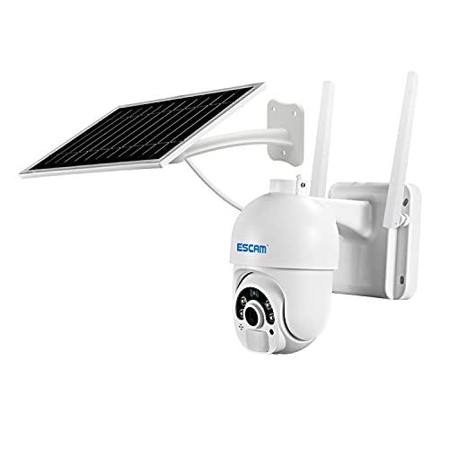 Cámara De Seguridad Solar, Vigilancia De Cámara WiFi 1080P con Almacenamiento De Tarjeta TF De 64G Batería Recargable Audio Bidireccional Detección De Movimiento PIR para El Hogar Al Aire Libre