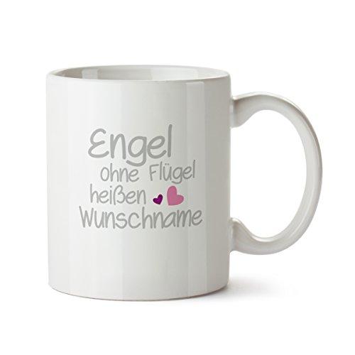 Partycards Personalisierte Tassen als Geschenkidee mit verschiedenen Motiven - Kaffebecher (Engel ohne Flügel heißen … + Wunschname, 300ml)