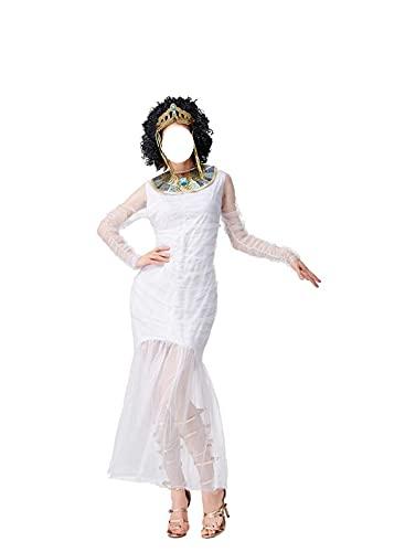 Costume de la mamá de la reina egipcia para las mujeres Vestido de cumpleaños de disfraces de Cosplay Halloween (Color : Blanc, Size : XL)