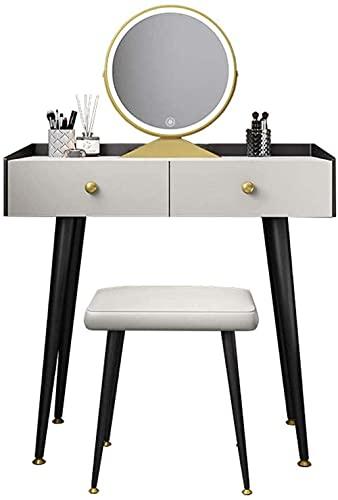 N&O Renovation House Schminktisch-Set mit rundem Spiegel Schminktisch mit Einstellbarer Helligkeit mit 2 Schubladen für Schlafzimmer Touchscreen-Abblendspiegel 80cm