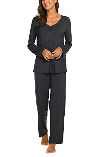 Ekouaer Womens Pajama Set Comfy Pjs Long Sleeve Top & Pants Sleepwear 2 Piece Pj Sets(S-XXL) Dark Grey