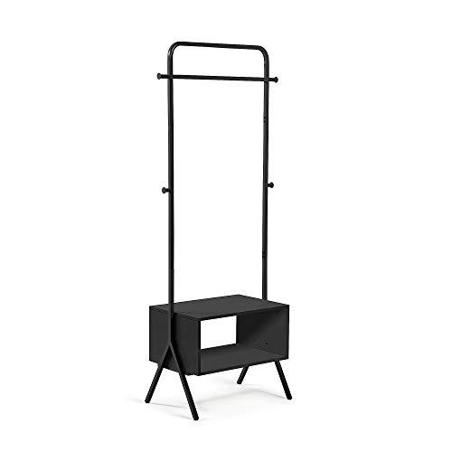 Kave Home - Perchero Burro Bently Negro 74 x 180 cm de Acero con estantería