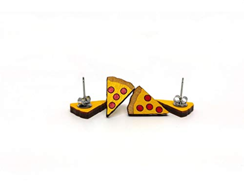 Unpossible Cuts Pizza Earring | Handpainted Laser Cut Wood Earings from Handmade in The USA
