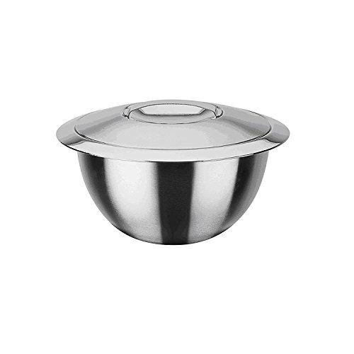 GSW Stahlwaren GmbH Servier-Thermoschüssel mit Deckel 16cm, Rostfreier Stahl, Silber