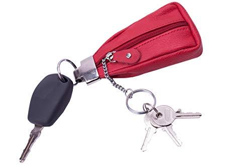 Moderne Schlüsseltasche/Schlüsselanhänger mit massivem Metallelement und Schlüsselringen Autoschlüssel - Schlüsseletui Rind Leder rot
