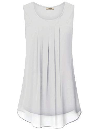 Timeson Women Tops and Blouses for Work, Women's Flowy Tank Tops Sleeveless Business Casual Clothes Chiffon Blouse Pleated Front Summer Swing Comfy Tunic T-Shirt Tops White XX-Large