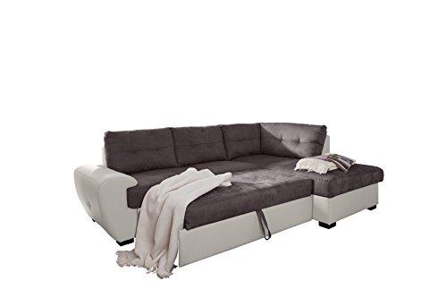 Cotta 2F-Otm/BK Rücken Echt Ecksofa, Sitz Strukturgewebe, 100% Korpus Kunstleder PU, 64% Polyurethan, 25% Polyester, 11% Baumwolle, 174 x 244 x 88 cm, mud/weiß