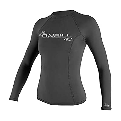 O'Neill Wetsuits Women's Basic Skins UPF 50+ Long Sleeve Rash Guard, Graphite, Large