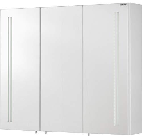 FACKELMANN LED Spiegelschrank Lugano/Badschrank mit Soft-Close-System/Maße (B x H x T): ca. 80 x 68 x 16 cm/Möbel fürs WC oder Badezimmer/Korpus: Weiß/Front: Spiegel/Breite 80 cm