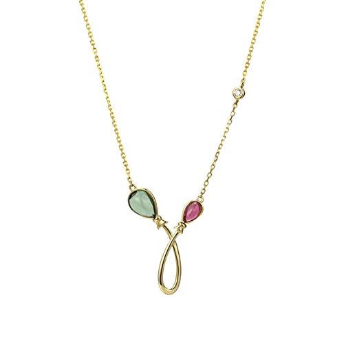 KnSam Oro Collar, Forma de Globo Turmalina-Diamante Oro Collar 18K 750 Oro Amarillo con Turmalina Collar 18K San Valentín Collar Oro Cadena con Colgante