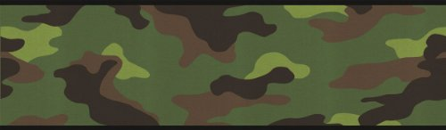 Camouflage Camo Wallpaper Wall Border - Green