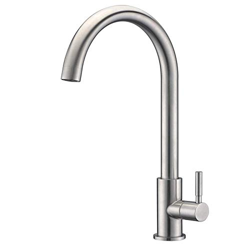 Kitchen Tap, Stainless Steel Kitchen Sink Mixer Taps, Monobloc 360º Swivel Spout Single Lever Kitchen Tap Brushed Nickel