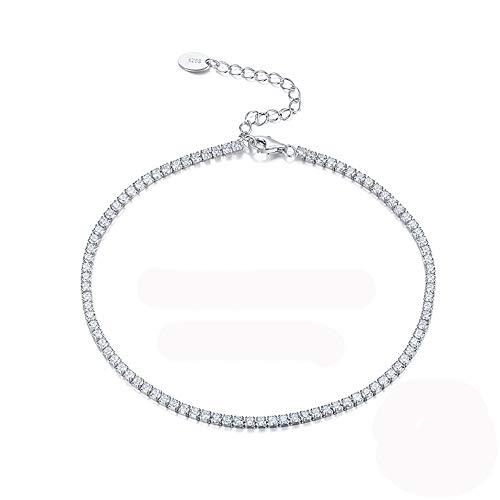 KIUY Pulsera de circonita cúbica 3 mm CZ Pulseras de Tenis chapadas en Oro Blanco para Mujer de 7,5 Pulgadas, Regalo de joyería Mujer,E
