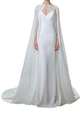 ShineGown Damen Umhang Fuer Frauen Weiss Lange Bridal Wraps Hochzeit Cape Chiffon Party Schals