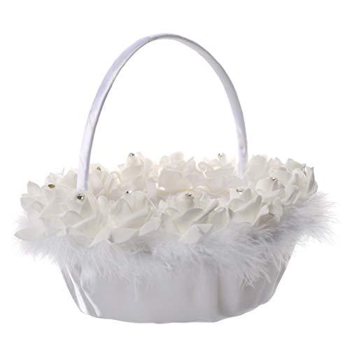 heacker Weiße Hochzeit Blumen-Mädchen-Korb-Rosen-Blumen-Feder-Hochzeit Zeremonie-Partei-Make-up-Korb