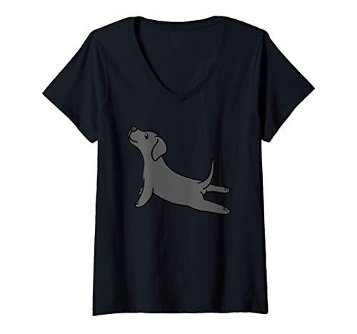 Mujer Yoga Gran Danés Perro Camiseta Cuello V