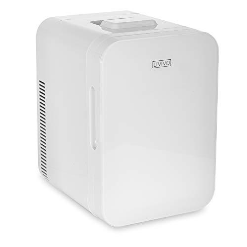 LIVIVO Mini-Kühlschrank-Kühlschrank mit Glastür, 10 l, 12 V Gleichstrom oder 240 V Wechselstrom, Dual-Eingang, geräuscharm, thermoelektrisch, perfekt für Schlafzimmer oder Lounge (weiß)