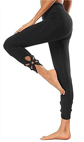 Yavero Sporthose Damen High Waist Blinkdicht Sport Leggings Elastische Tummy Control Yogahose Lange Laufhose mit Taschen,Stil: Schwarz-2 XL