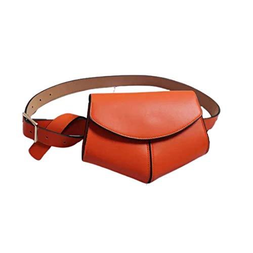 Ducomi Rox Riñonera de Cuero para Mujer - Bolso de Mano Completo con Correa para el Hombro para Teléfono, Monedero - Accesorio Elegante para Niña - Idea de Regalo (Naranja)