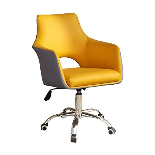 N/Z Daily Equipment Beauty Chair Barber Chair Comfy Fabric Computer Chair Adjustable Height Office Chair with Chrome Base Padded Swivel Chair Home/Office Furniture (Color : Yellow 2)