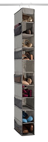 Premium 10-Shelf Hanging Shoe Storage Organiser With Side Mesh Pockets- Superior Tear Proof Fabric, Hanging Shoe Shelves With 2 Hooks- Collapsible Wardrobe Storage Closet Organiser for Shoes & Clothes