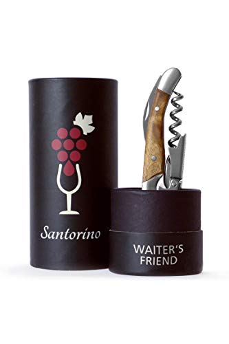 Santorino® Couteau Sommelier | Sommelier Couteau en bois exclusif Campeche, ouvre-bouteille à double marche, tire-bouchon, decapsuleur