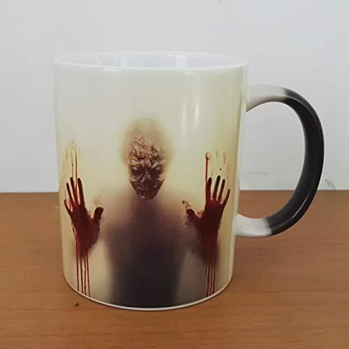 El diseño más Nuevo The Walking Dead Tazas de café Taza de té Que Cambia de Color con Calor Taza mágica RegaloCabeza de Zombi Impresión de Doble Cara - Negro, 301-400ml