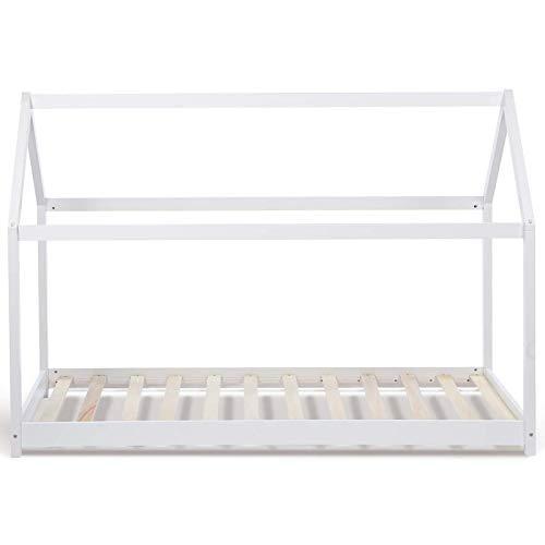 IDMarket - Lit cabane 90x190 cm Blanc