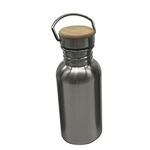 Botella de agua portátil de acero inoxidable con asa 1000ml / 500ml / 350ml Frascos deportivos Viajes Ciclismo Senderismo Camping Botella BPA Free-China, 500ml, botella con tapa de bambú