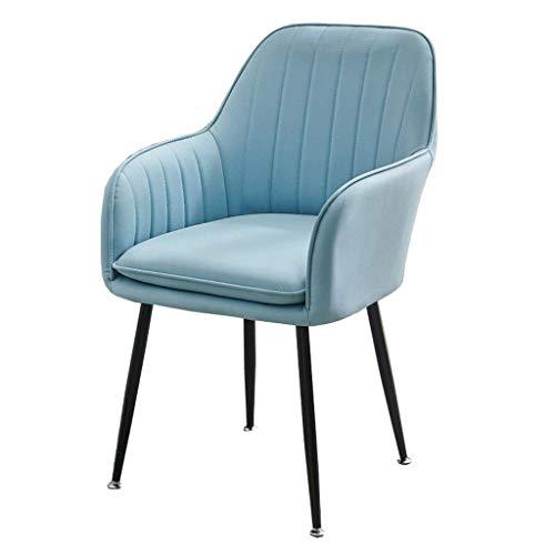 MNBV Gepolsterter Esszimmerstuhl aus Leder, moderner Küchenseitenstuhl, Sessel, Sofastuhl, Retro-moderner Ledersessel (Farbe: Blau)