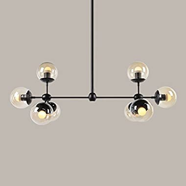 Chandelier Nordic minimalist creative personality LED wrought iron glass ball living room dining room magic bean chandelier A+ ( Size : 8 -heads )