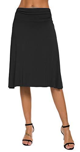 EXCHIC Falda Yoga Mujer Mini Llamarada XL, Negro