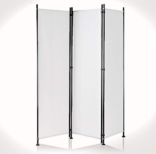 IMC Paravent 3-teilig grau Raumteiler Trennwand Sichtschutz, faltbar/flexibel verstellbar, wetterfester Polyester-Stoff, Schwarze Metallstangen