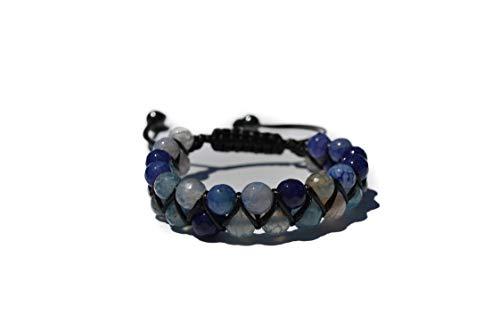 World Crmy Pulsera Mujer Hombre Piedras Naturales semipreciosas Facetadas Ideal Gemoterapia Yoga Reiki 7 Chakas Kundalini Meditación (Ágata Facetada Azul con toques Lilas y Blancos)