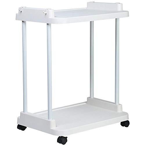 HUANXI 2-Etagen Rollregal auf Rollen,Weiß Plastik Trolley Wagen für Frauen, Wiederverwendbarer Einkaufswagen Dolly, Strapazierfähig & Wegklappbar