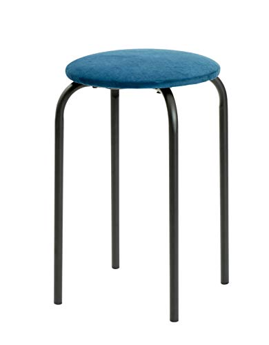 DAY - USEFUL EVERYDAY kruk, keukenkruk, stoel rond van metaal en polyester Scandinavisch design Ø30h45cm Moonlit Blue