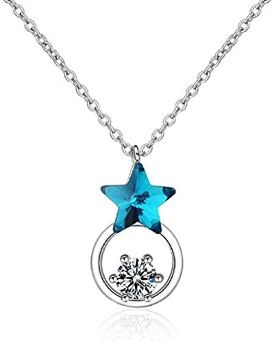 DUEJJH Co.,ltd Necklace Necklace Modern Fashion Exquisite Necklace Beautiful Blue Star Silver Sequins Crystal Round Pentagonal Ladies Pendant