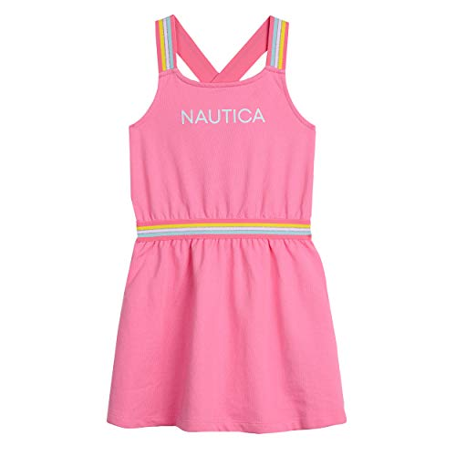 Nautica Little Girls' Patterned Sleeveless Dress, Baby French Soft Pink, 4