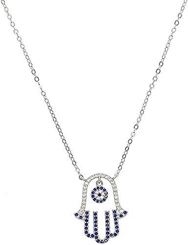LBBYMX Co.,ltd Collar de Moda Collar de Plata esterlina 925 para Mujer Regalo de joyería de Boda Azul Blanco Cz Mano Palma de Fátima Turco Evil Collares Pendientes Collar Regalo
