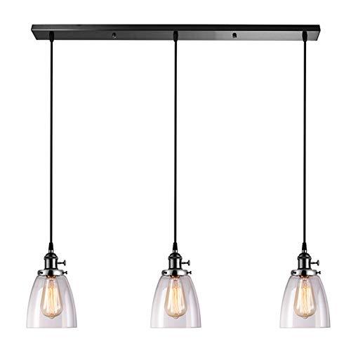XLNB Candelabro Industrial rústico de 3 Luces, lámpara Colgante de Granja con Pantalla de Vidrio, Cable Colgante Ajustable, para Cocina, Isla, Comedor, Sala de Estar, café, Pub