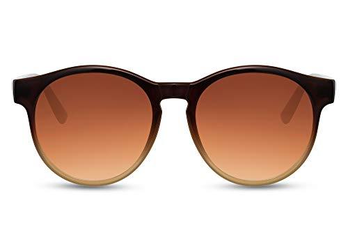 Cheapass Sunglasses - Gafas de sol Retro Vintage con montura redonda de color marrón a beige con lentes degradados marrones con protección UV400 para hombre y mujer