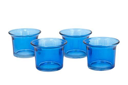 Creativery Teelichtgläser 63x45 mm Set 4 Stück Teelichthalter Glas mit geschwungenem Rand Tulpenform Farbauswahl: blau 352 / königsblau/Royalblau