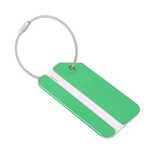 sourcing map Voyage De plein air Alliage d'aluminium En forme de rectangle Étiquette de nom d'étiquette de bagage Vert