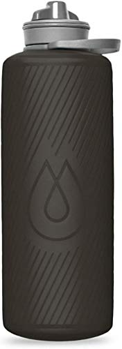Hydrapak Flux - Collapsible Backpacking Water Bottle (1 Liter) - BPA Free, Ultra Light, Spill-Proof Twist Cap - Mammoth Grey