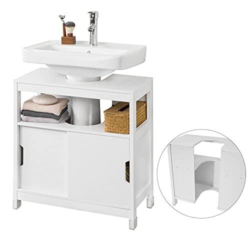 SoBuy FRG128-II-W Mueble para Debajo del Lavabo Armario de Baño de Suelo 1...